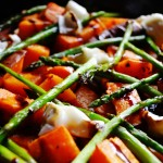 Roast Vegetables with Goats' Cheese and Balsamic Glaze